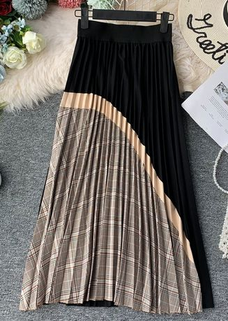 Black color Skirts . Pleated Retro Abstract Skirt -