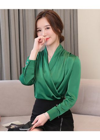 Green color Tops and Tunics . Solid Pattern Formal Wrap Tops -