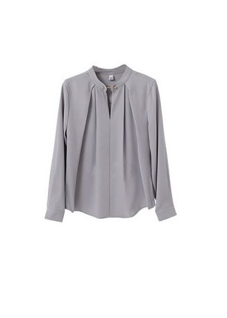 Grey color Tops and Tunics . Collared Neck Solid Style Blouse -