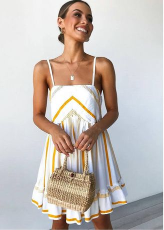 White color Dresses . Sexy Suspender Feature Striped Waist Dress -
