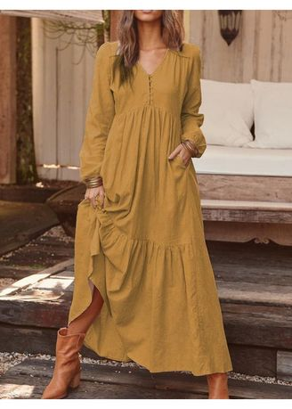 Brown color Dresses . Retro Casual Long-Sleeved Maxi Dres -