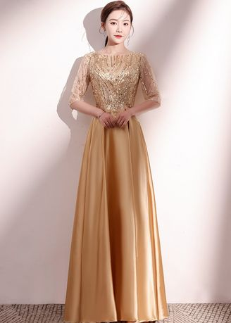 Gold color Dresses . Sequin Embroidered Maxi Dress -