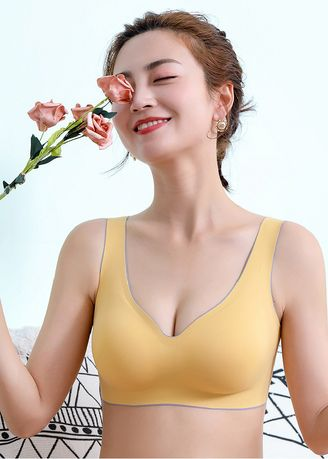 Gold color Bras . Light Weight Padded Sports Bra -