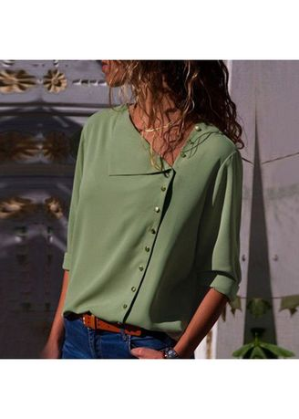Green color Plus Size Fashion . Stylish Solid Full Sleeve Tops -