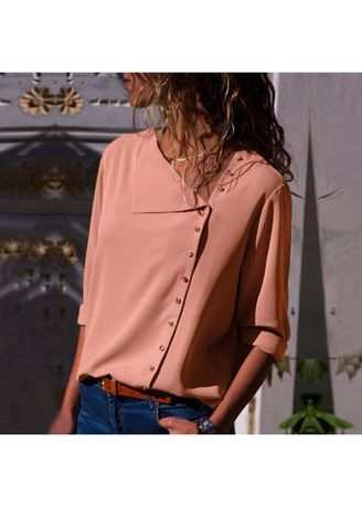 Pink color Plus Size Fashion . Stylish Solid Full Sleeve Tops -