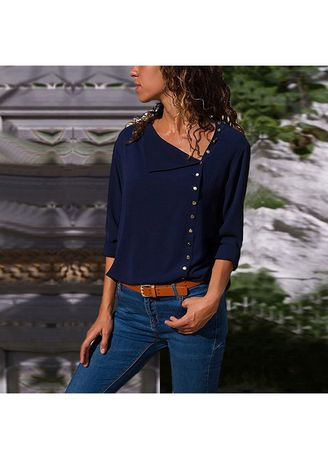 Navy color Plus Size Fashion . Stylish Solid Full Sleeve Tops -