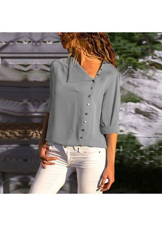 Grey color Plus Size Fashion . Stylish Solid Full Sleeve Tops -