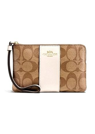 IM/KHAKI/CHALK color Wallets and Clutches . กระเป๋าสตางค์ COACH F58035 CORNER ZIP WRISTLET IN SIGNATURE COATED CANVAS WITH LEATHER STRIPE  (IMDJ8) [F58035IMDJ8-MA] -
