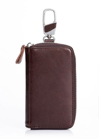 Brown color Wallets . Cowhide Leather Key Wallets Organizer Case -