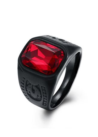 Red color Rings . Men's Red Fashion Steel Titanium Ring -