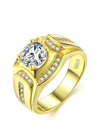 Gold color Rings . Men's Gold Fashion Zircon Ring -