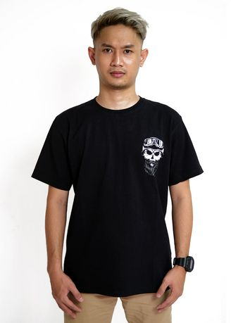 Hitam color Kaus Oblong & Polo . Skull Wrench -