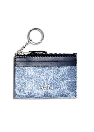 Navy color Wallets and Clutches . ที่ใส่บัตร COACH 93680 MINI SKINNY ID CASE IN SIGNATURE CANVAS (SVLD) [93680SVLD-MA] -