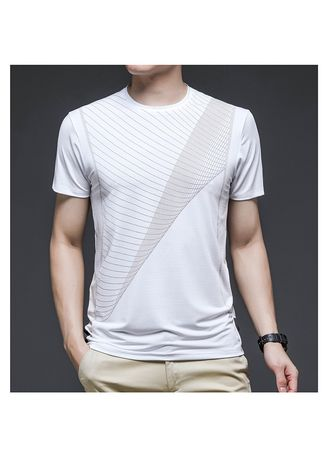 White color T-Shirts and Polos . Men's Round Neck Mesh Breathable Sports T-shirt -