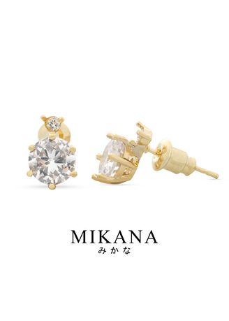 Gold color  . Mikana 18k Gold Plated Masami Stud Earrings Accessories For Women -