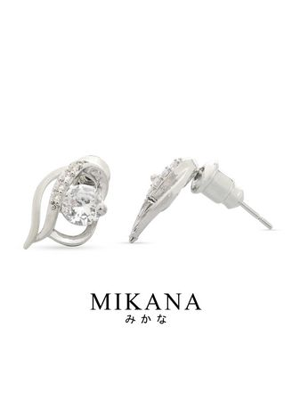 White color  . Mikana 14k White Gold Plated Subaru Stud Earrings Accessories For Women -
