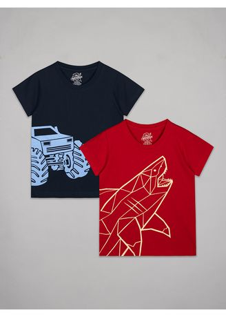 Yellow color Tops . The Sandbox Clothing Co. Fish and Truck Tshirt -