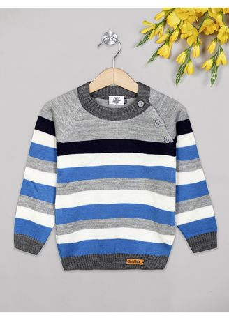 Blue color Tops . The Sandbox clothing Co. Blue and white stripes sweater -