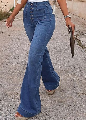Blue color Jeans . High-Waist Flared Jeans -