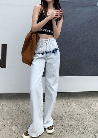 White color Jeans . Stained Flared Jeans -