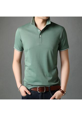 Green color T-Shirts and Polos . Men's Casual Lapel Short-sleeved T-shirt Polo Shirt -