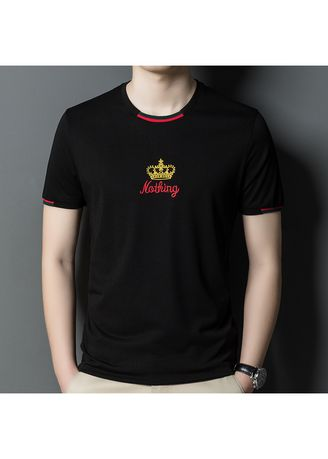 Black color T-Shirts and Polos . Fashion Casual Round Neck Embroidered T-shirt -