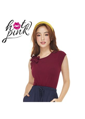 Maroon color Tops and Tunics . Severonia Women's Sleeveless Blouse with Ribbon Detail -