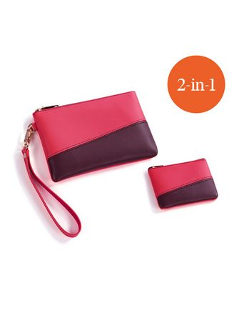 Peach/Brown color Wallets and Clutches . Northania Women's 2in1 Pouch and Coinpurse Set -