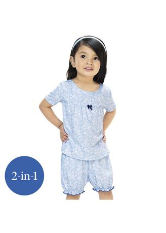 Light Blue color Tops . Pheobie Toddler Printed Top and Bloomer -