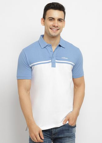 Kaus Oblong & Polo . Moving Blue Polo T-Shirt White Combination Blue  -