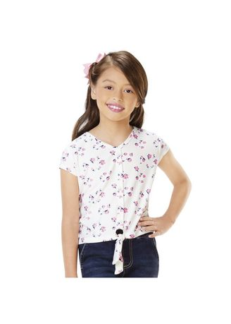 White color Tops . Rosslyn Girls' Buttoned Tank Top -