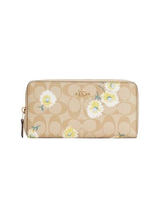 IM/LIGHT KHAKI CHALK MULTI color Wallets and Clutches . กระเป๋าสตางค์ COACH C3370 ACCORDION ZIP WALLET IN SIGNATURE CANVAS WITH DAISY PRINT  [C3370IMOTV-RB] -