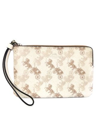 SV/CREAM BEIGE MULTI color Wallets and Clutches . กระเป๋าคล้องมือ COACH 88083 CORNER ZIP WRISTLET WITH HORSE AND CARRIAGE PRINT (SVQB9) [88083SVQB9-MA] -