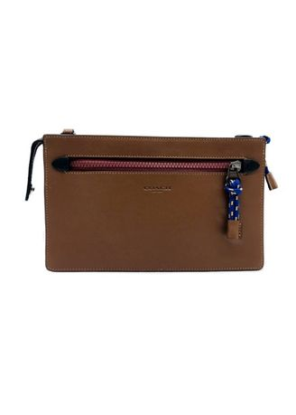 Brown color Wallets and Clutches . COACH 79732 RIVINGTON CONVERTIBLE POUCH IN COLORBLOCK (PFF) -