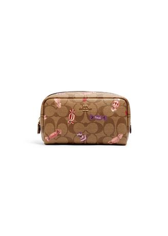IM/KHAKI MULTI color กระเป่าสตางค์และคลัตช์ . COACH C1388 SMALL BOXY COSMETIC CASE IN SIGNATURE CANVAS WITH CANDY PRINT(IME7V) [MCC1388IME7V-CV] -