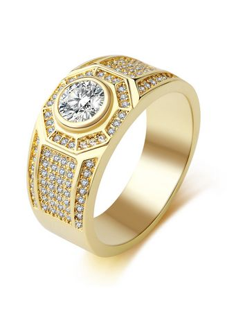 Gold color Rings . Men Fashion Gold Zircon Ring -