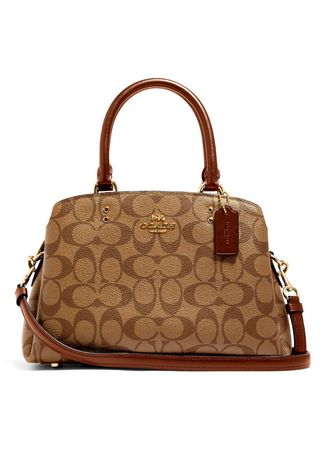 Brown color Sling Bags . COACH 91494 MINI LILLIE CARRYALL IN SIGNATURE CANVAS (IME74) [91494IME74-MB] -