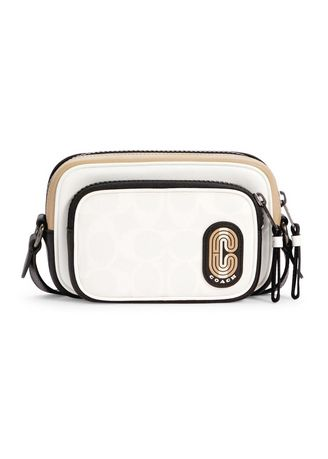 White color Sling Bags . COACH C4295 MINI EDGE DOUBLE POUCH CROSSBODY IN COLORBLOCK SIGNATURE CANVAS WITH STRIPED COACH PATCH (QBCAH) [C4295QBCAH-MA] -