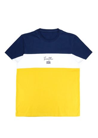 """NAVY BLUE/ WHITE/ NUGGET GOLD color T-Shirts and Polos . Men's """"Seattle USA"""" Graphic T-shirt -"""