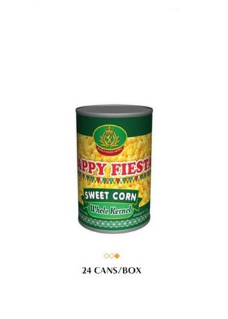 No Color color Canned Food . Happy Fiesta Whole Kernel Sweet Corn, 425g (24 Cans/Box) -