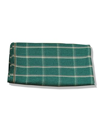 Green color Cotton . Unstitched Cotton Green Check Fabric -