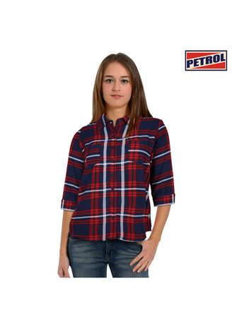 Peacoat/Red color Tops and Tunics . Petrol Ladies Basic Woven Regular Fit 12178 (Peacoat/Red) -