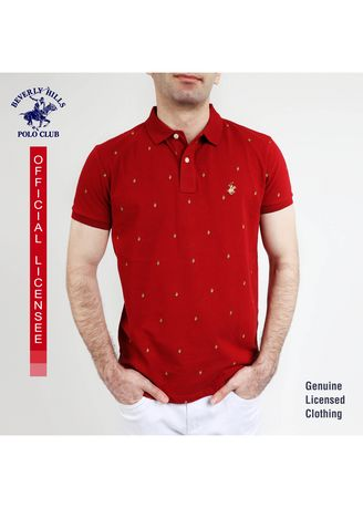 Maroon color T-Shirts and Polos . Beverly Hills Polo Club Men's Polo Shirt in AOP Maroon SDN678 -
