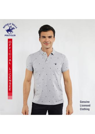 Heather Gray color T-Shirts and Polos . Beverly Hills Polo Club Men's Polo Shirt in AOP Heather Gray SDN678 -