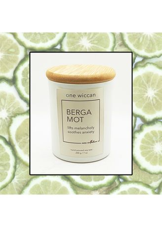 Matte White color Home Fragrances . One Wiccan Aura Bergamot Candle 200g -
